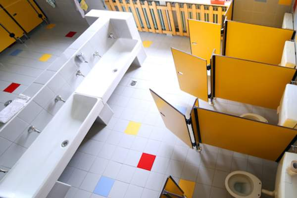 Well maintained kindergarten bathroom.