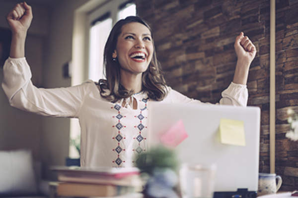 Woman feeling successful at work