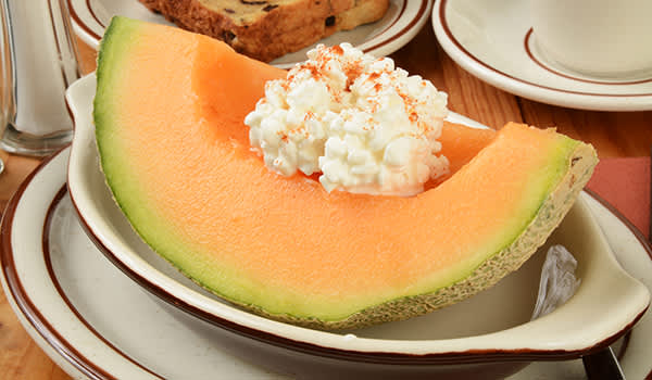 Cantaloupe melon with cottage cheese.