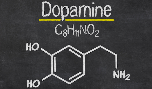 Blackboard with the chemical formula of dopamine