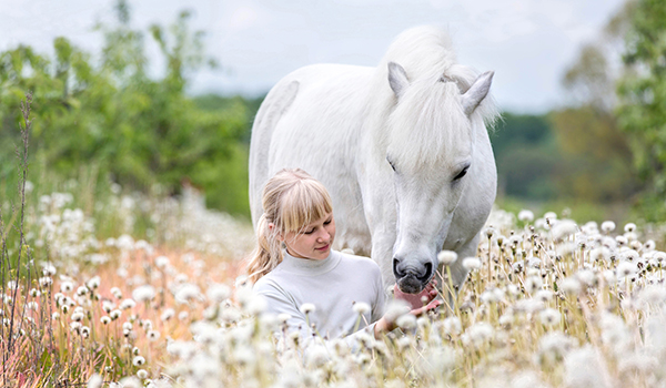 Girl sitting in a field with a pony.