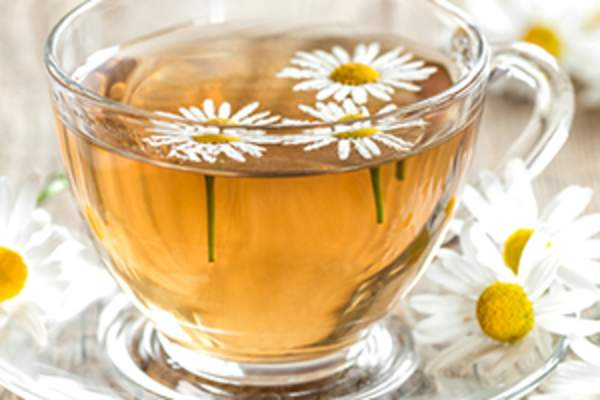 A mug of chamomile tea.