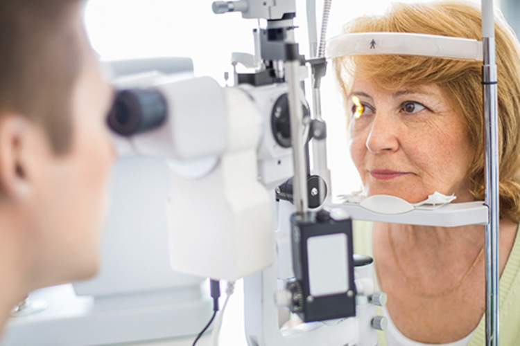 Senior woman visiting an optometrist.