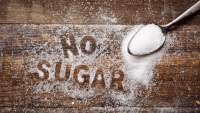 """No Sugar"" written in sugar."