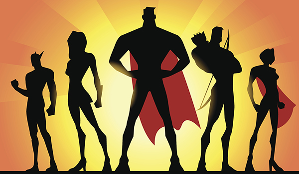 Silhouettes of superheroes.