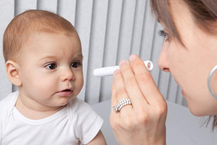 Infant eye exam.