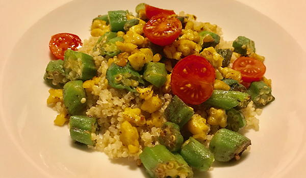 Tempeh and Green Okra With Grains