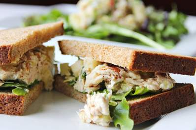 tuna sandwich on whole grain bread image