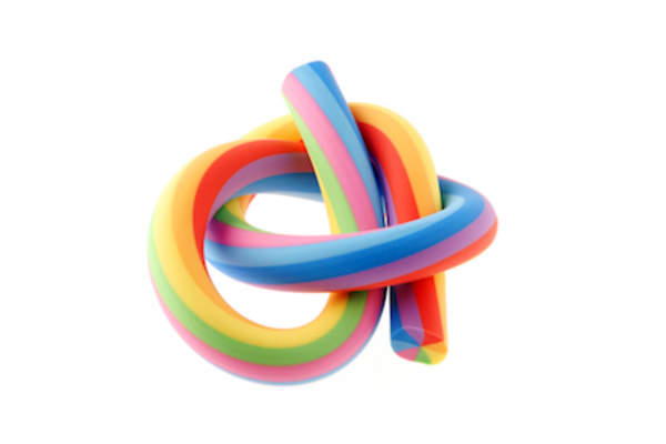 Rubber flexible rainbow eraser.