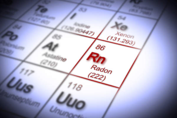 Radon highlighted on periodic table.