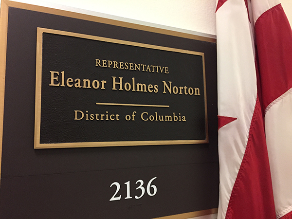They visited the offices of Holmes Norton, who is in their district. photo credit Erin L. Boyle