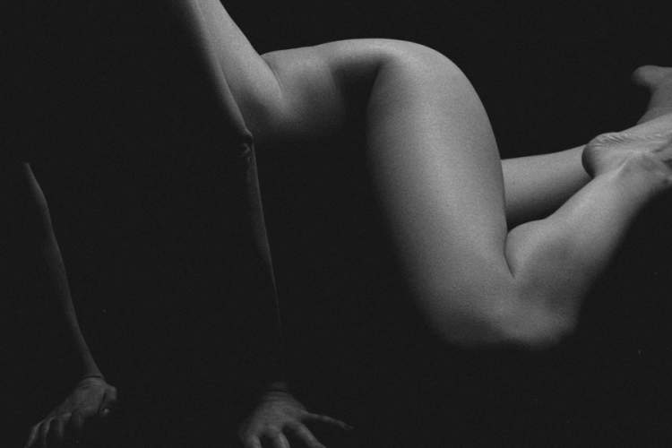 black and white photo of nude woman