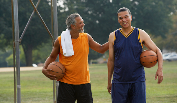 older men ready to play basketball
