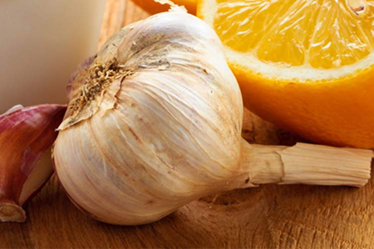 Garlic clove and citrus fruit to boost immunity.