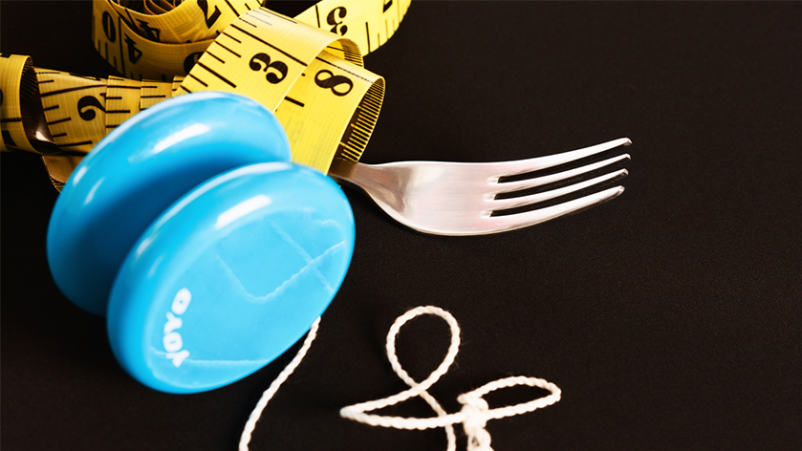 Yo-yo dieting, tape measurer and fork.