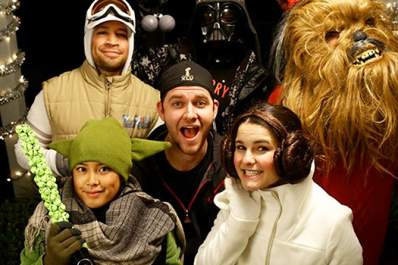 Kyle smith with characters from the movie Star Wars.