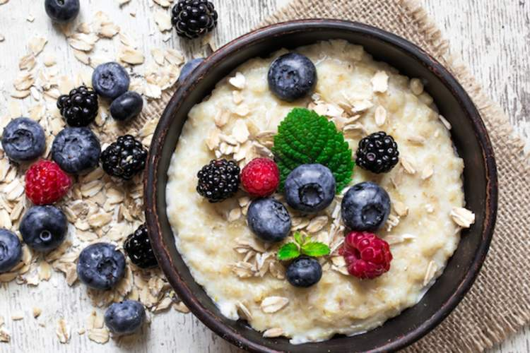 Oatmeal and fresh berries are a healthy morning meal.