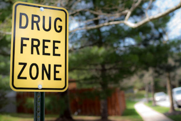 Drug free zone street sign