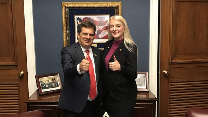 Rep. Gus Bilirakis, R-FL, and Candace Lerman in his office on Capitol Hill. Bilirakis is the sponsor of the OPEN Act. They met in Oct. 2017 to discuss to discuss their strategy for gaining more cosponsors for the act in both the House and Senate.