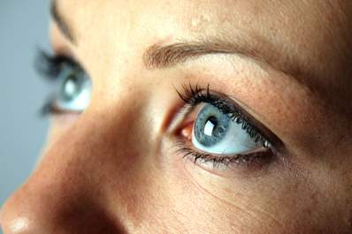Close up of woman's blue eyes.