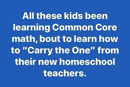 "All these kids been learning Common Core math, bout to learn how to ""Carry the One"" from their new homeschool teachers"