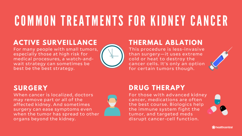 Common treatments for kidney cancer include active surveillance, thermal ablation, surgery, and drug therapy