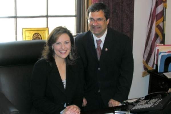 Nicole Johnson meeting a congressman.