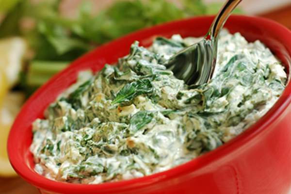 Bowl of artichoke dip.