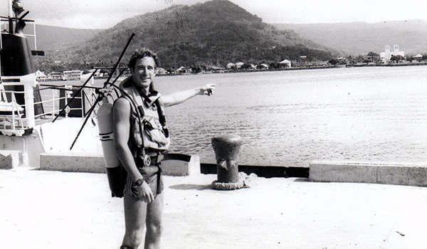 Diving in Samoa (there were no commercial dive shops in those days) and a view of the old Apia waterfront (1984)