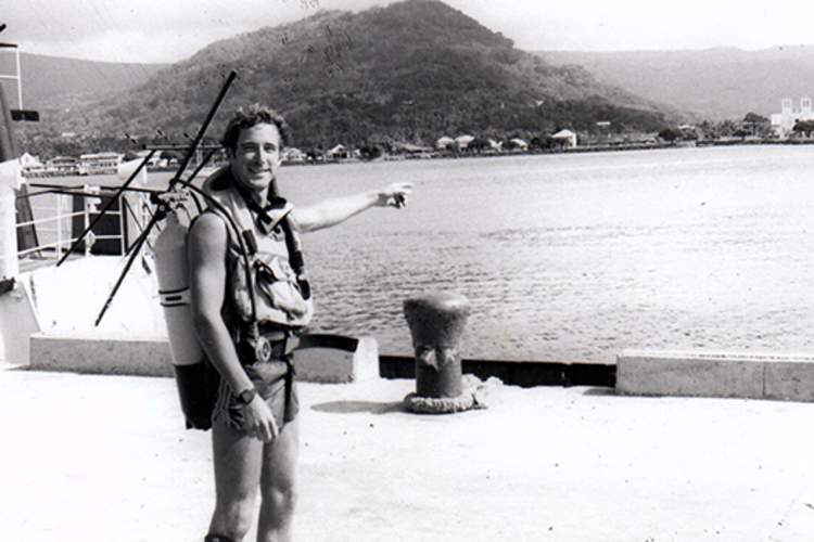 Diving in Samoa (there were no commercial dive shops in those days) and a view of the old Apia waterfront (1984) .