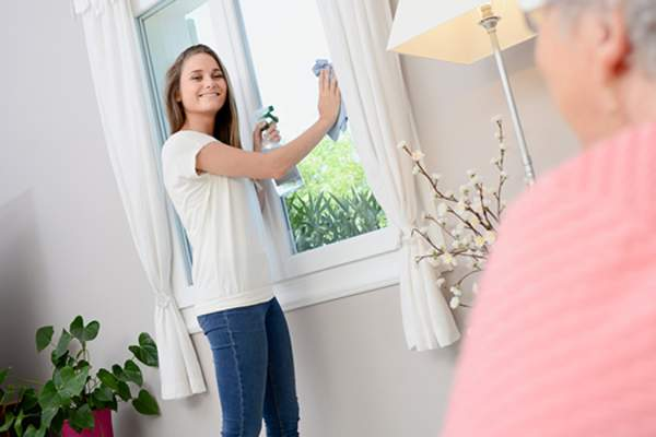 teenage girl cleaning windows image