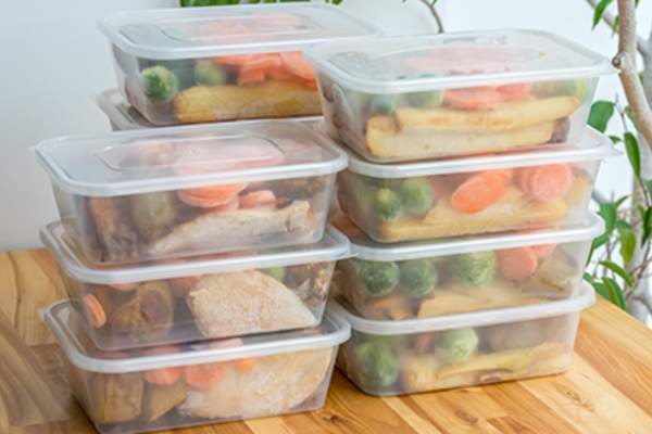 Food in plastic containers.