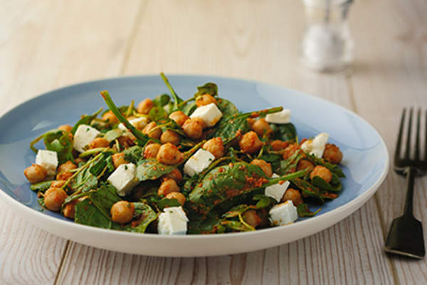 Chickpea and arugula salad.
