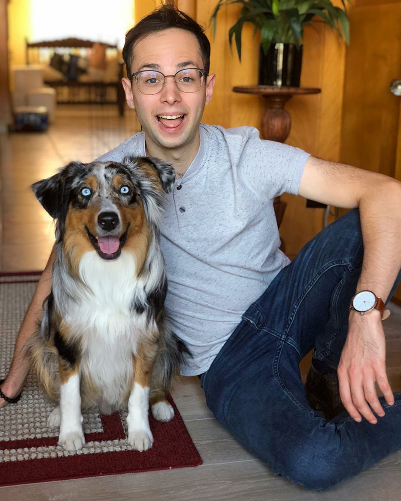 Zach Kornfeld and his dog Bowie.