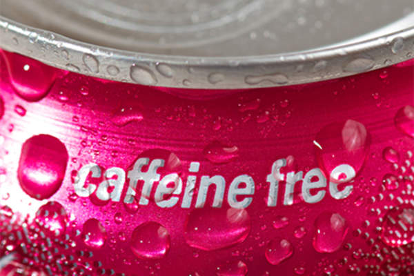 Caffeine free beverage in can.