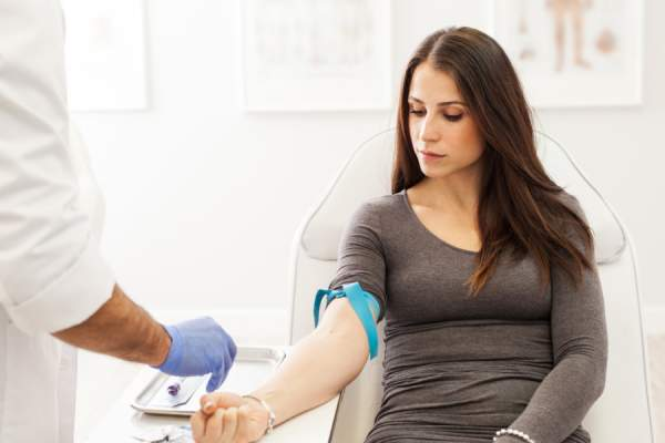 woman getting blood test