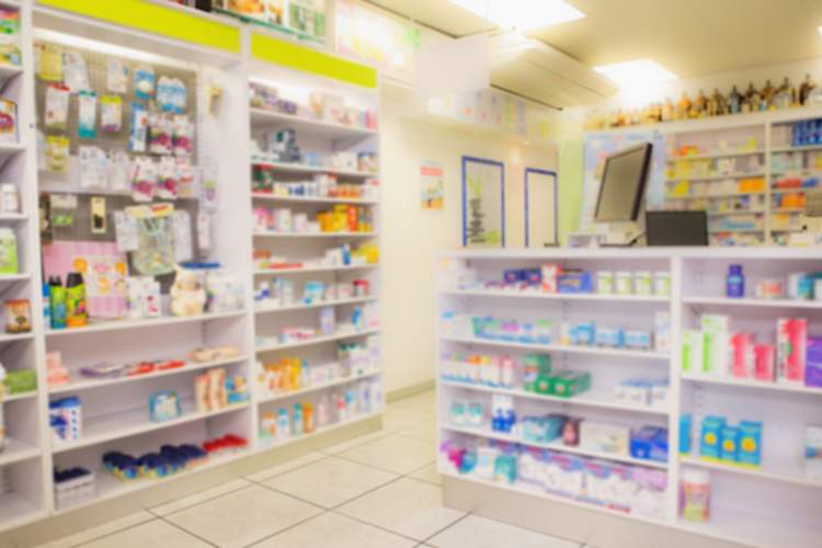 Drugs on pharmacy shelves
