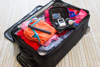 Diabetic supplies packed in suitcase.