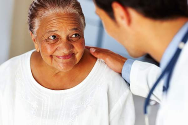Patient listening to doctor
