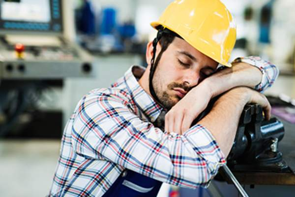 Tired construction worker.