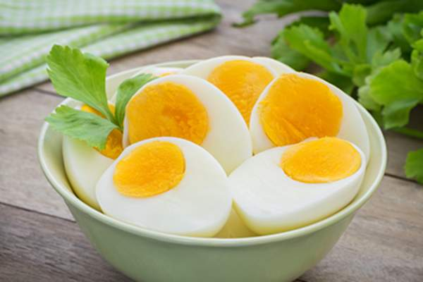 Hardboiled eggs in a bowl