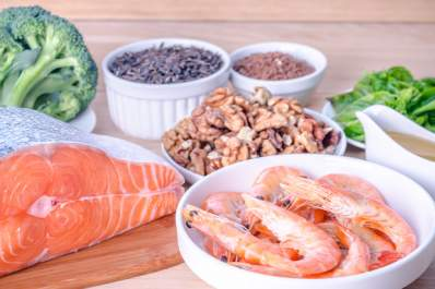 Fish, nuts, and other ingredients that provide healthy fats.