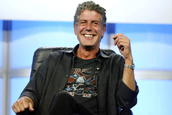 Host Anthony Bourdain attends the panel discussion for 'Anthony Bourdain: No Reservations' during the Discovery Networks' Travel Channel presentation at the 2005 Television Critics Association Summer Press Tour.