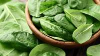 Fresh baby spinach leaves in a bowl on a wooden table