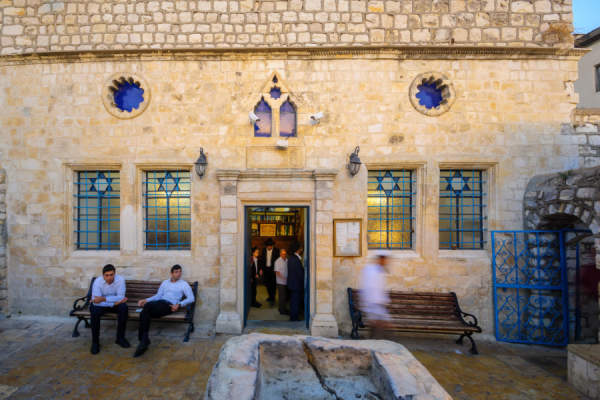The Ashkenazi HaAri Synagogue, in the Jewish quarter, with prayers, in Safed (Tzfat), Israel