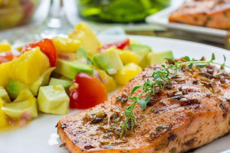 Baked salmon high in omega-3 fatty acids.