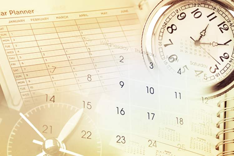 Calendar, clock, and planner image.