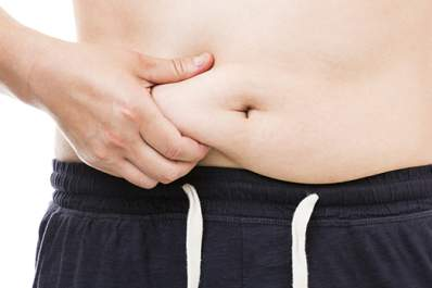 Man pinching stomach fat.