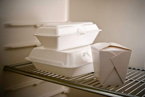 takeout leftovers in the refrigerator