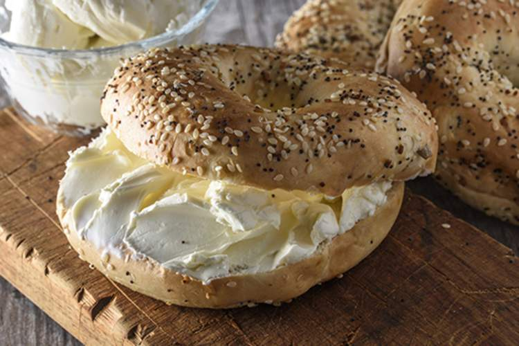 Everything bagel with cream cheese.